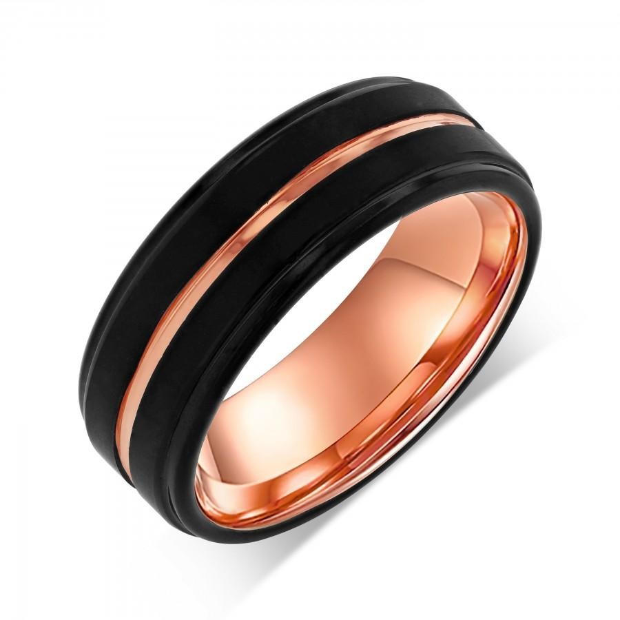 Mariage - Rose Gold Stepped Edges Tungsten Wedding Band, 8mm Black Copper Middle Line Eternity Wedding Ring, Durable Classic Symmetrical Engraved Band