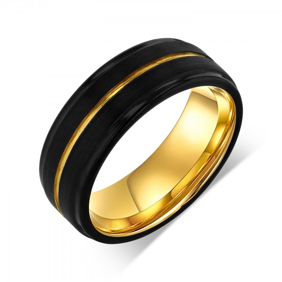 Mariage - Yellow Gold Infinity Line Wedding Band, Black Trendy Wedding Ring, Gold Symmetrical Statement Ring, Comfort Fit Couples Ring, Engraved Band