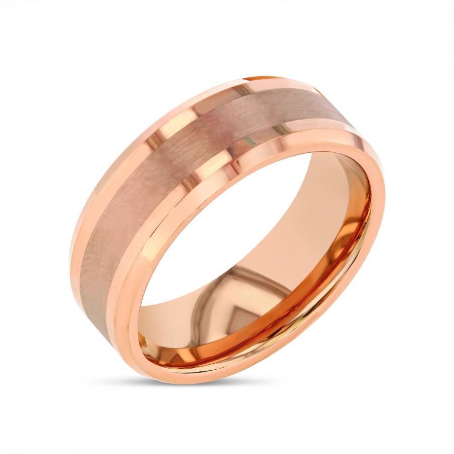 Mariage - Tungsten Ring, Tungsten Wedding Band Men, Mens Ring, Tungsten Wedding Band, Mens Rose Gold Tungsten Wedding Band, Rose Gold Wedding Band
