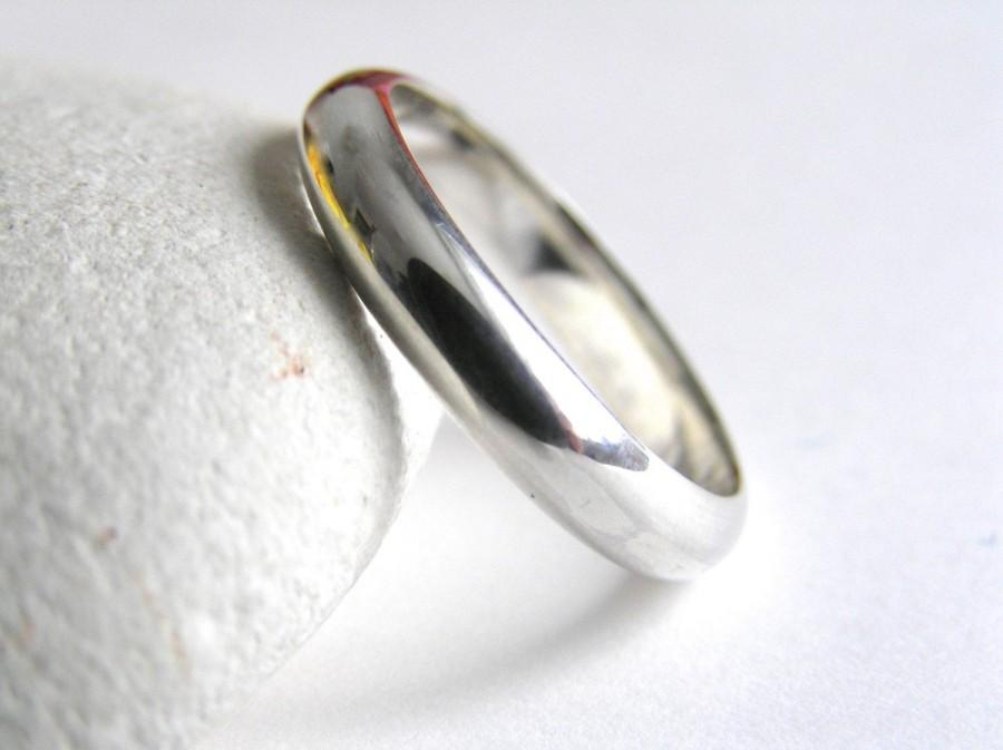 Mariage - Sterling silver ring, mens ring, plain polished silver ring, handmade wedding band, simple silver wedding band, silver wedding ring, unisex