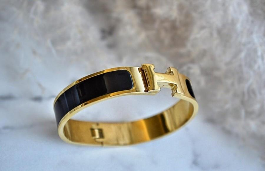Mariage - 22K Gold Plated H Bracelet It is the best quality steel that does not tarnish in water. Luxury Bangle Bracelet - Designer Inspired H Bangle