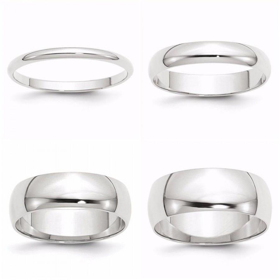 Mariage - 10K Solid White Gold 2mm 3mm 4mm 5mm 6mm Wide Men's Women's Wedding Band Ring Sizes 4-14. Solid 10k Gold,Engagement Midi Toe Thumb Stacking