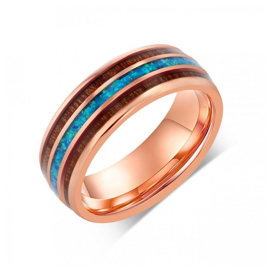 زفاف - Rose Gold Australian Blue Ocean Opal Wedding Band, Hawaiian Koa Wood Inlay, 8mm Eternity Band, Sky Blue Crushed Opal Wedding Ring, Engraved