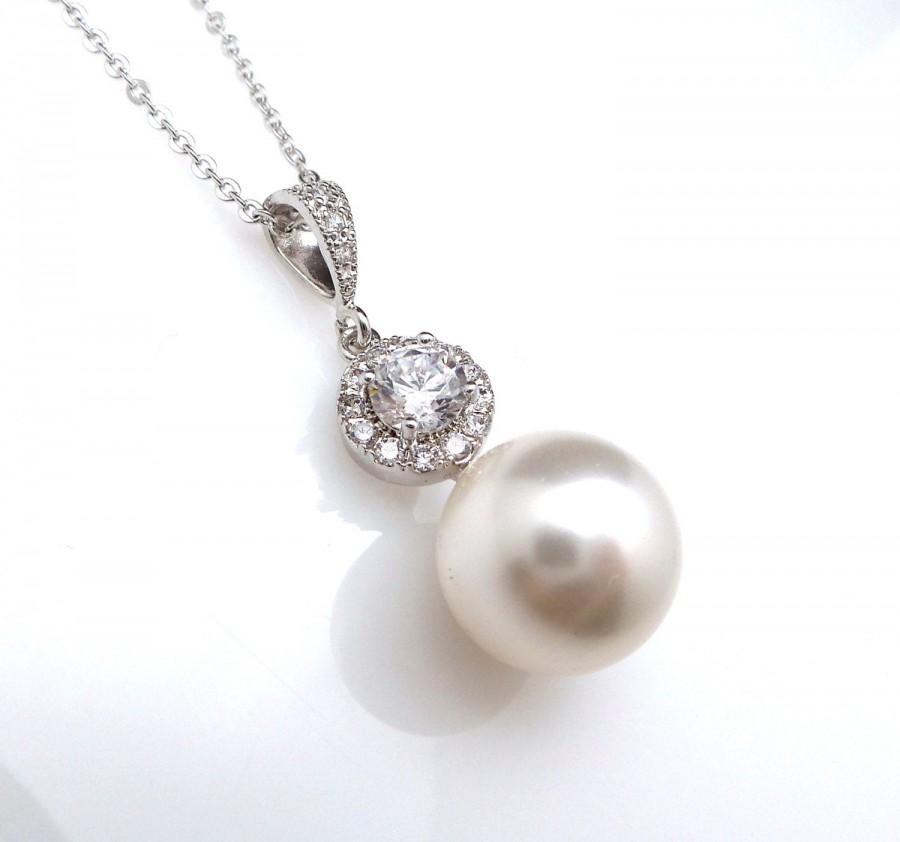 زفاف - wedding jewelry bridal necklace prom bridesmaid party white or cream 12mm swarovski round pearl drop necklace with sterling silver chain