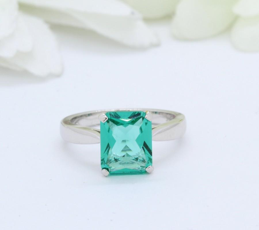 Wedding - Solitaire Emerald Cut 2.00ct Paraiba Tourmaline Vintage Wedding Engagement Ring 925 Sterling Silver Bridal Ring