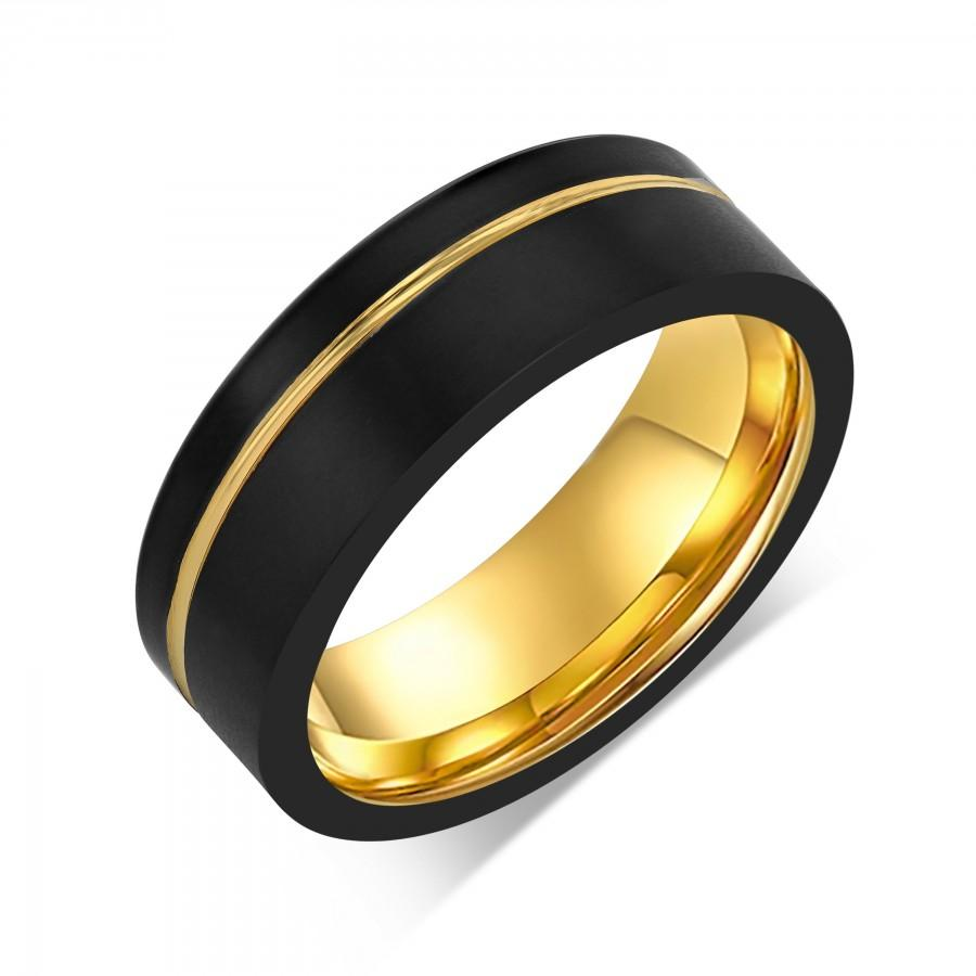 Wedding - Asymmetrical Yellow Gold Tungsten Wedding Band, Off Center Gold Line, Black Statement Ring, Satin Finish, Flat Edges, Couples Ring, Engraved