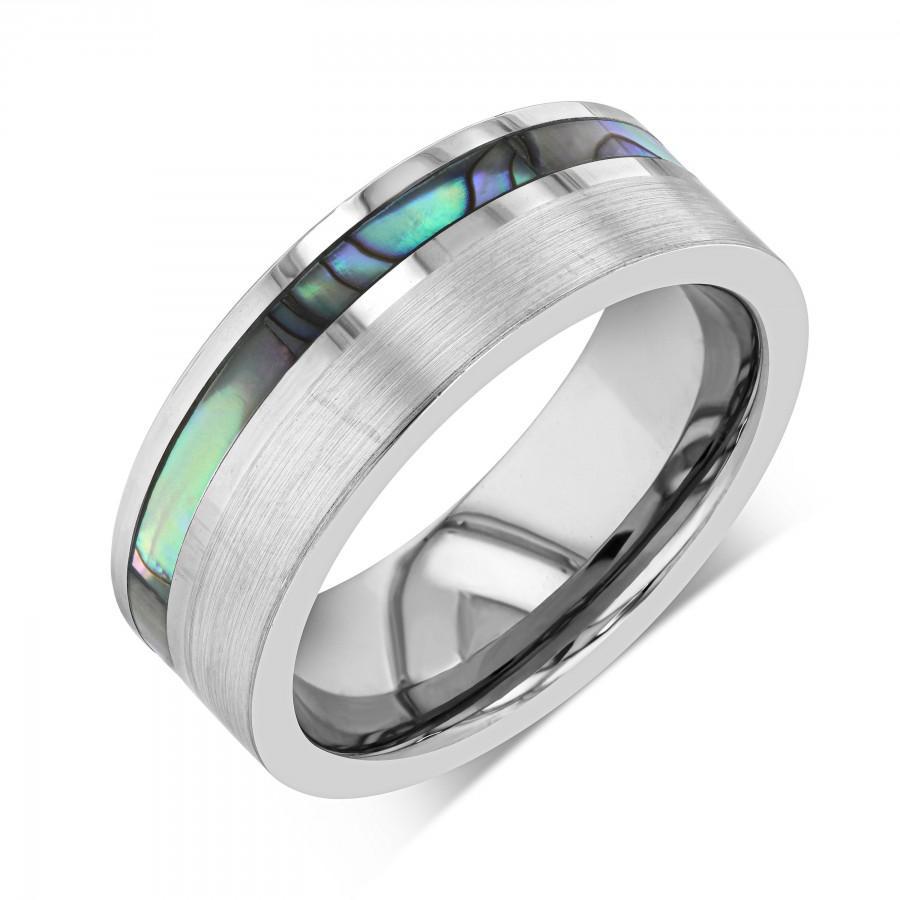 Wedding - Tungsten Ring, Tungsten Wedding Band Men, Mens Wedding Band, Sea Shell Abalone, Spiral Asymmetrical Ocean Wave, Iridescent Mother of Pearl