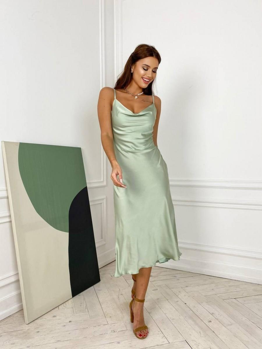 Wedding - Silk Bridesmaid Dress With Cowl Neck, Close-fitting Cut Silk Sexy Dress For Special Occasions, Satin Bridesmaid Dress, Midi Silk Slip Dress