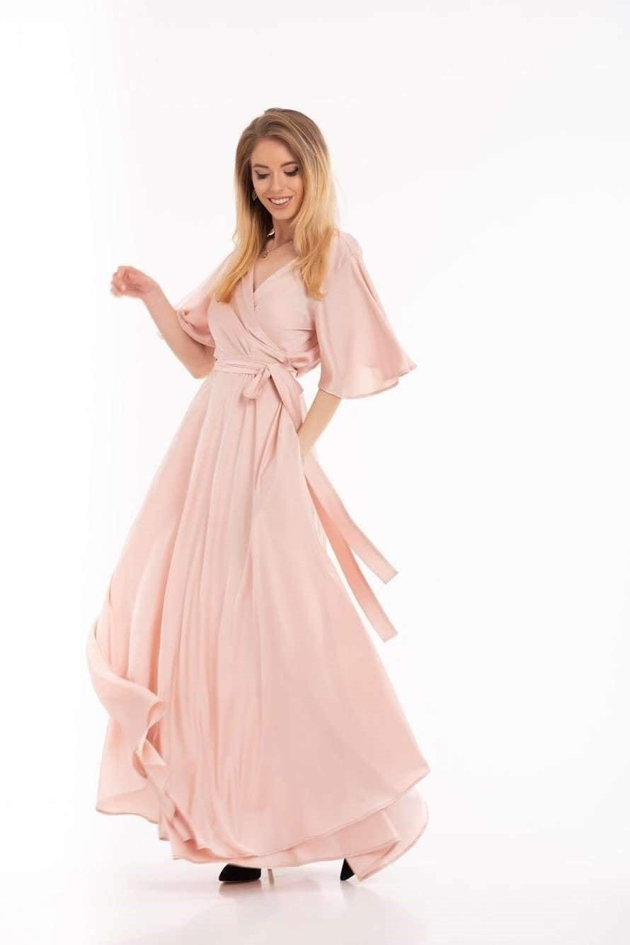 Wedding - Light Pink Wrap Dress, Flutter Sleeve Long Dress, Silk Maxi Dress, Wrap Bridesmaid Gown, Flutter Sleeve Bridesmaid Wrap Dress, Boho Gown