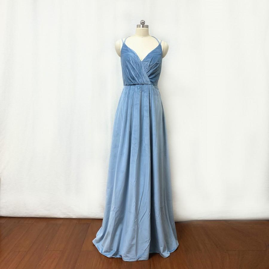 Hochzeit - Dusty Blue Velvet Long Bridesmaid Dress with Slit