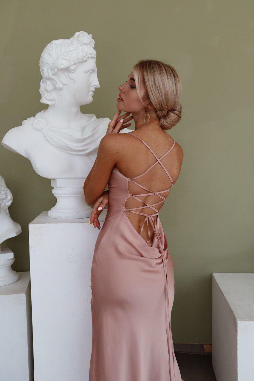 Wedding - Cowl Neck Silk Dress In Dusty Pink, Silk Bridesmaids Dress, Backless Satin Sexy Dress, Silky-smooth Tie Straps Back Dress, Midi Slip Dress