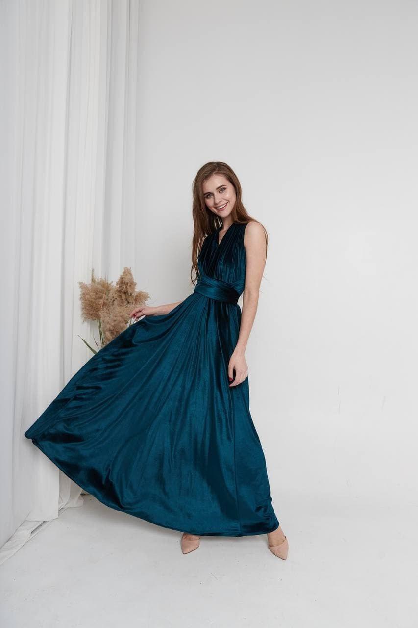 Hochzeit - Dark Teal Velvet dress Infinity Velvet bridesmaids Dress Convertible dress Short Flutter Sleeves Dress Maxi Train Boho Bridesmaid Dress