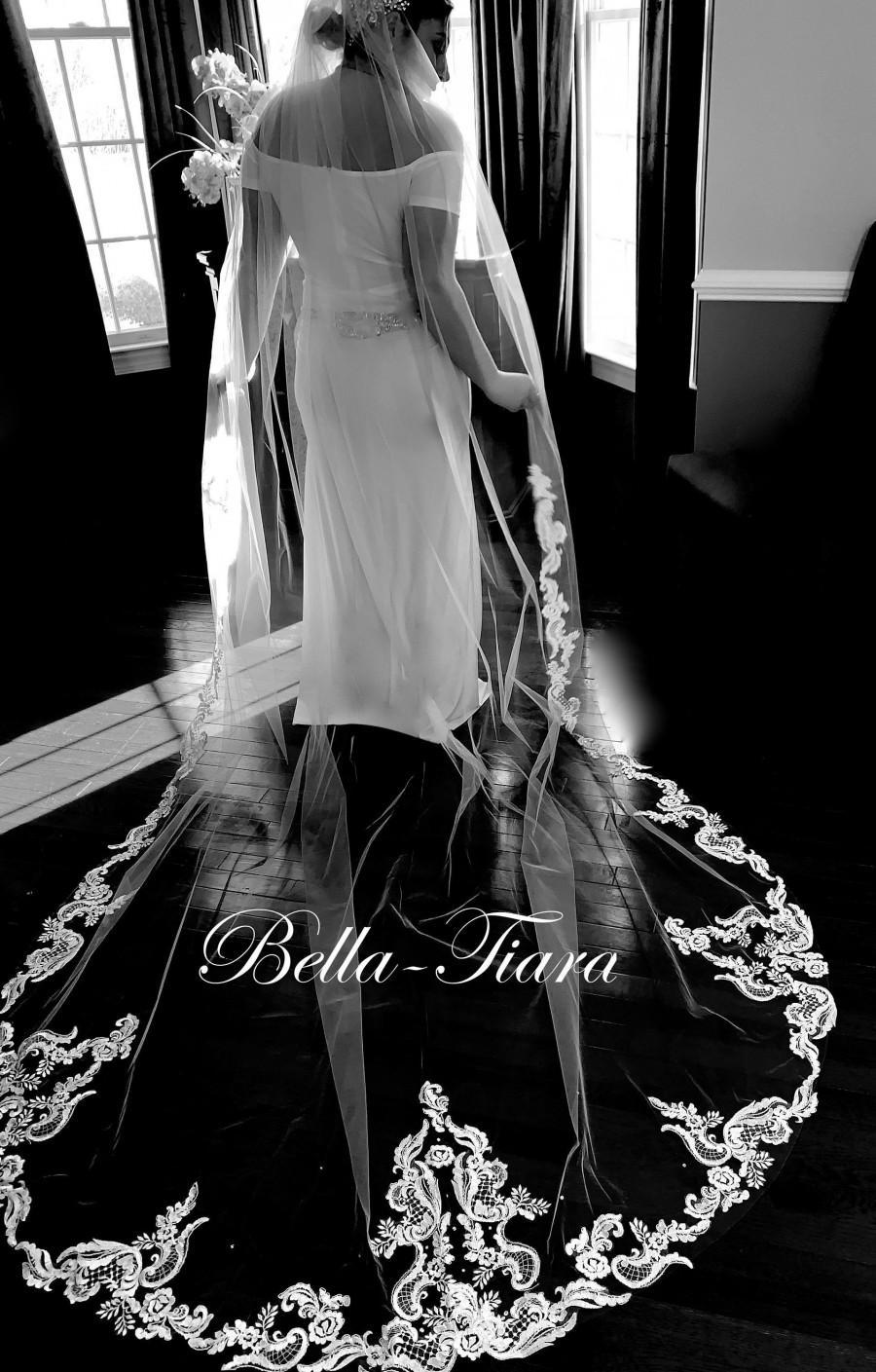 Hochzeit - royal cathedral wedding veil, lace trim cathedral veil, vintage lace cathedral veil, royal cathedral long veil, long wedding veil