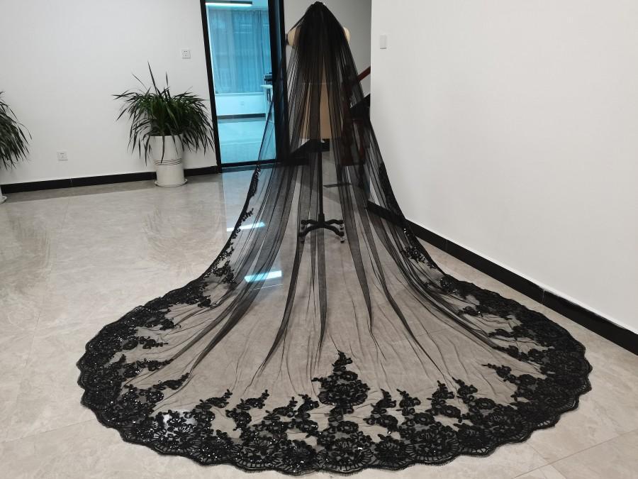 Hochzeit - Elegant Bridal Veil Cathedral Lace Sequins Wedding Veil Black Tulle One Layer Veil Lace Edge Partial Sequins Wedding Veil Sparkle Veil