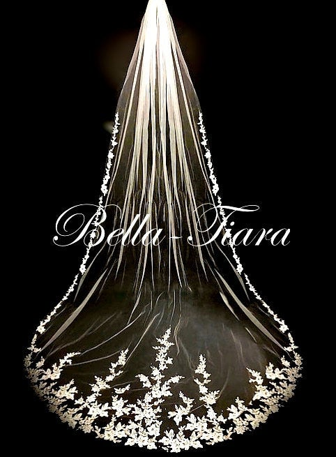 Wedding - cathedral veil, cathedral wedding veil, wedding veil with blusher, lace cathedral wedding veil, royal length cathedral veil