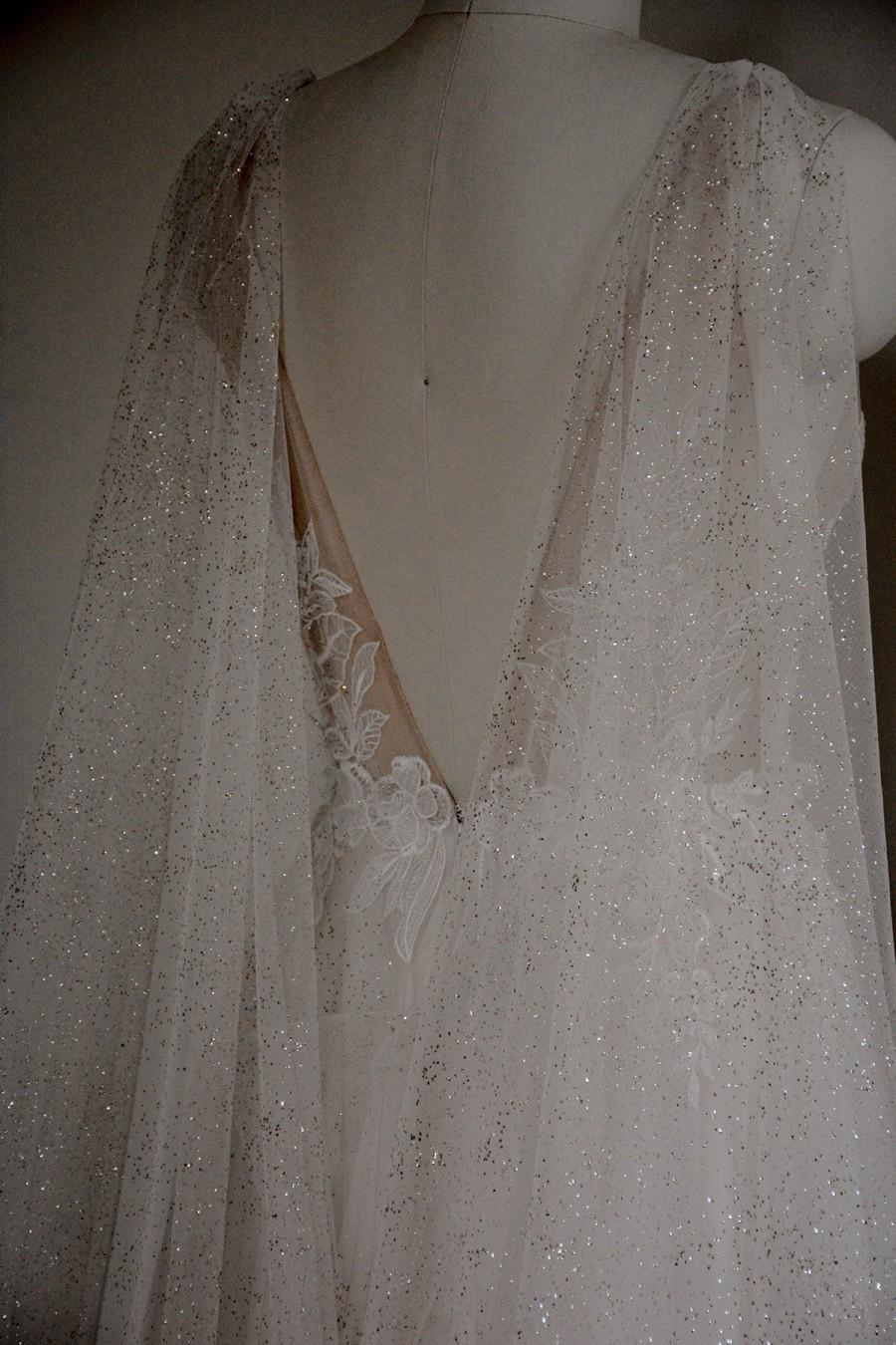 Mariage - gold sparkle bridal cape, gold wedding cape, gold shoulder veil, sparkling gold cape, shimmer cape, sparkling wedding cape - VELA