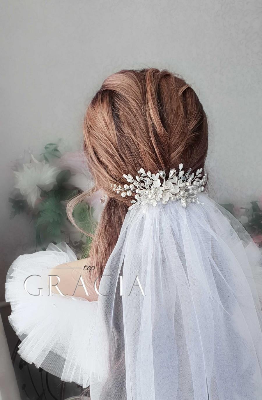Mariage - Bridal veil comb Wedding veil comb Wedding veil and headpiece Soft Wedding Veil Bridal rose gold veils Pearl hair comb and veil with blusher