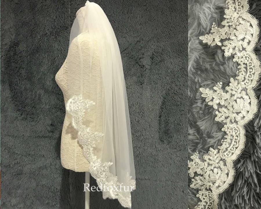 Wedding - Wedding veil,Fingertip Veil,Lace Veil,Bridal Veil,1Tier veil,Chapel veil,Cathedral veil,Flower veil,White,Tulle veil,Bridal hair accessories