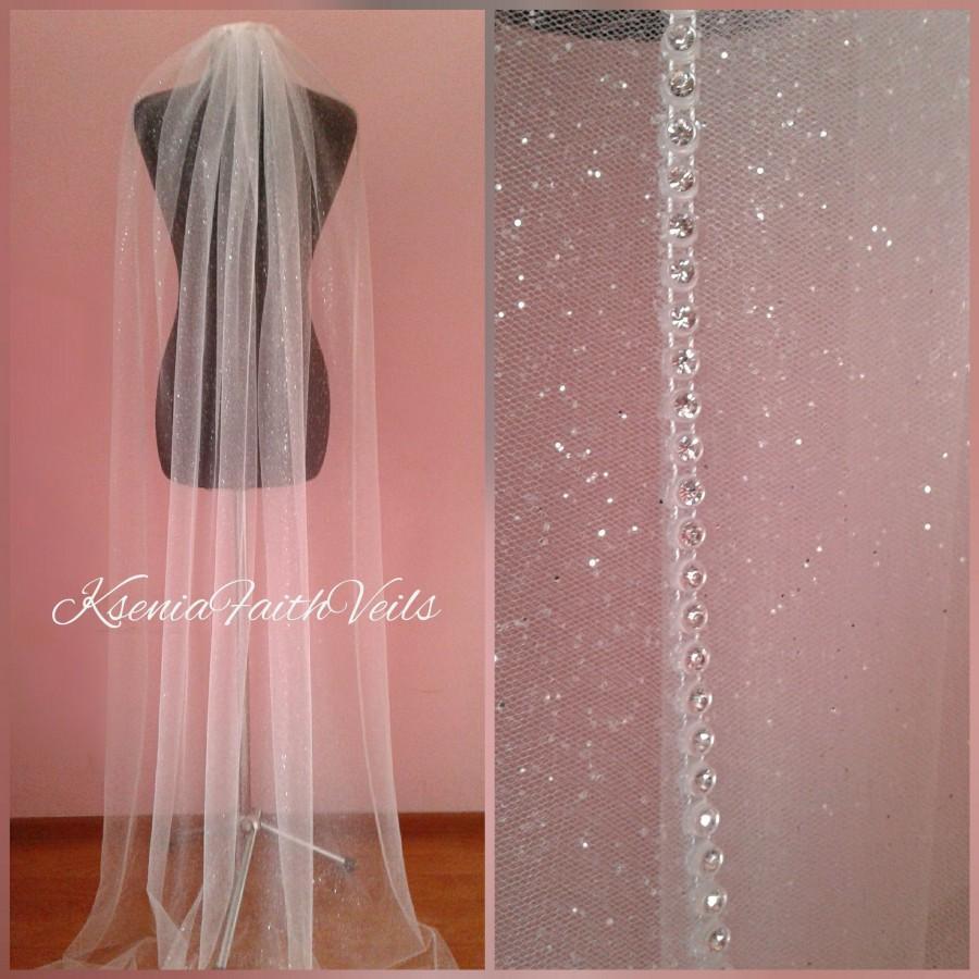 Wedding - Glitter veil with rhinestone edging Sparkling cathedral veil