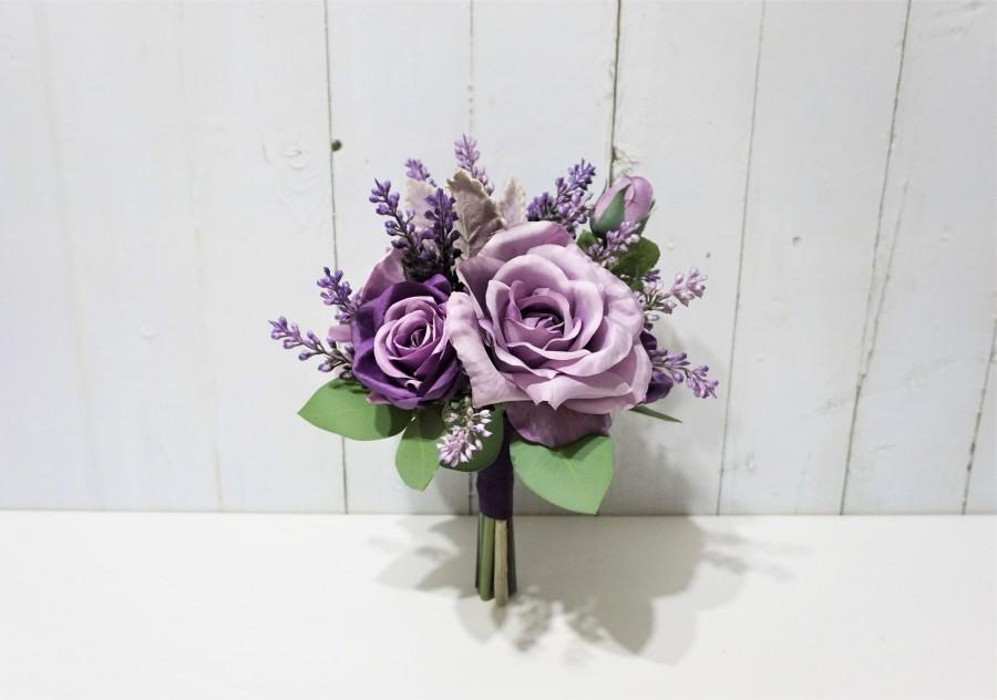 Mariage - Shades of Purple Wedding Bouquet, Purple Rose Flower Bouquet, Lavender Bridesmaid Bouquet, Purple Table Flower, Purple Flower Girl Bouquet