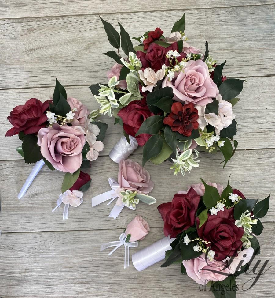 Mariage - Wedding Bouquet, Bridal Bouquet, Bridesmaid Bouquet, 17 PIECE PACKAGE, Silk Flower, Wedding Flower, Burgundy, Dusty Pink, Lily of Angeles