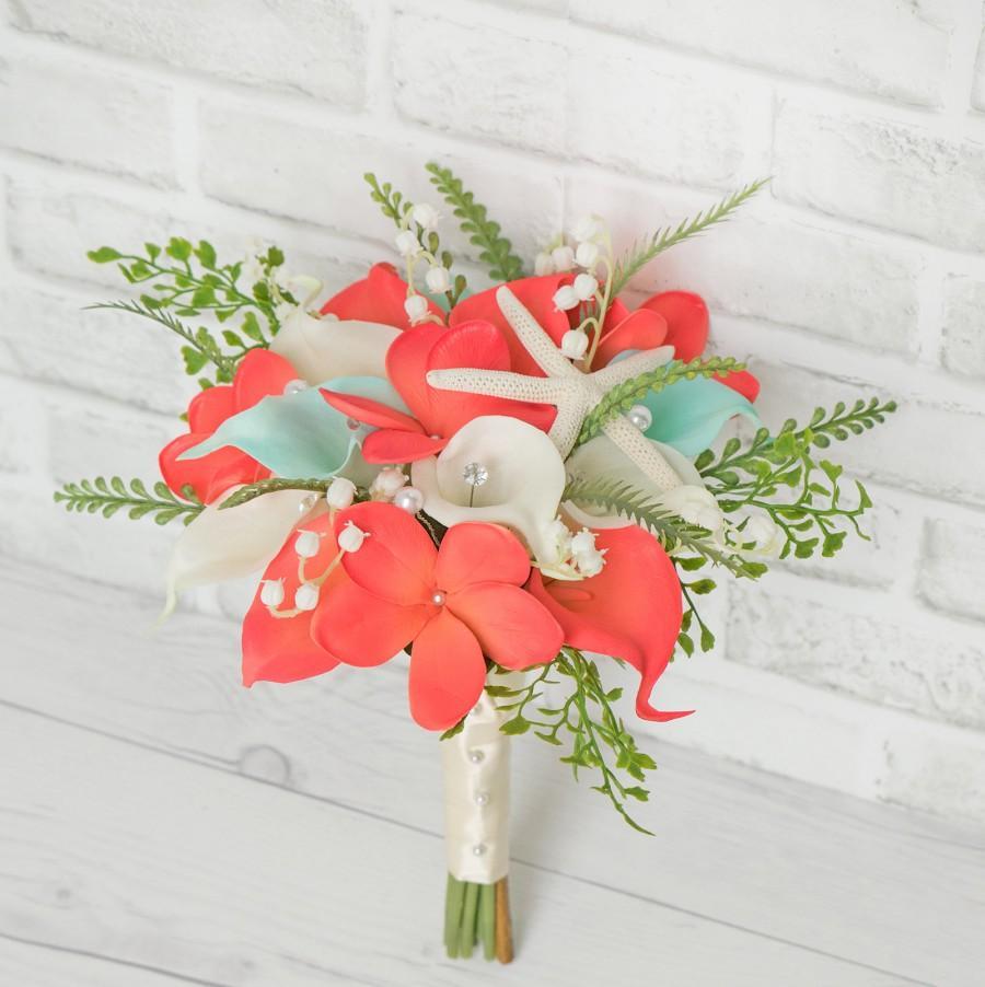 Wedding - Beach Wedding Bouquet, Starfish Bouquet, Beach Bouquet, Plumeria Bouquet, Coral Bouquet, Starfish Bouquet, Coral Bouquet, Wedding Bouquet