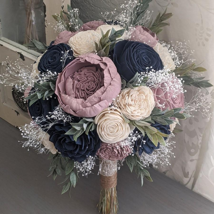Wedding - Navy, Rose Quartz, and Ivory Sola Wood Flower Bouquet with Baby's Breath and Greenery - Bridal Bridesmaid Toss