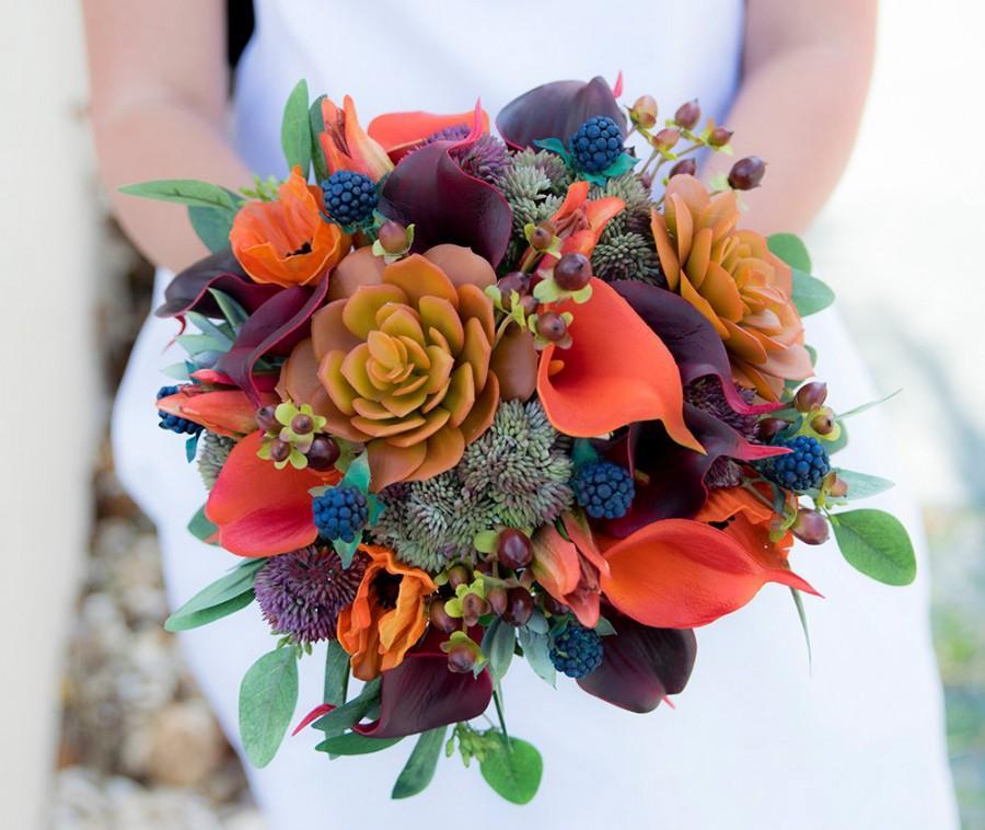 Wedding - Wedding Bouquet, Succulent Bouquet, Silk Wedding Bouquets, Real Touch Bouquet, Boho Bouquet, Peony Bouquet, Rustic Bouquet, Orange Bouquet