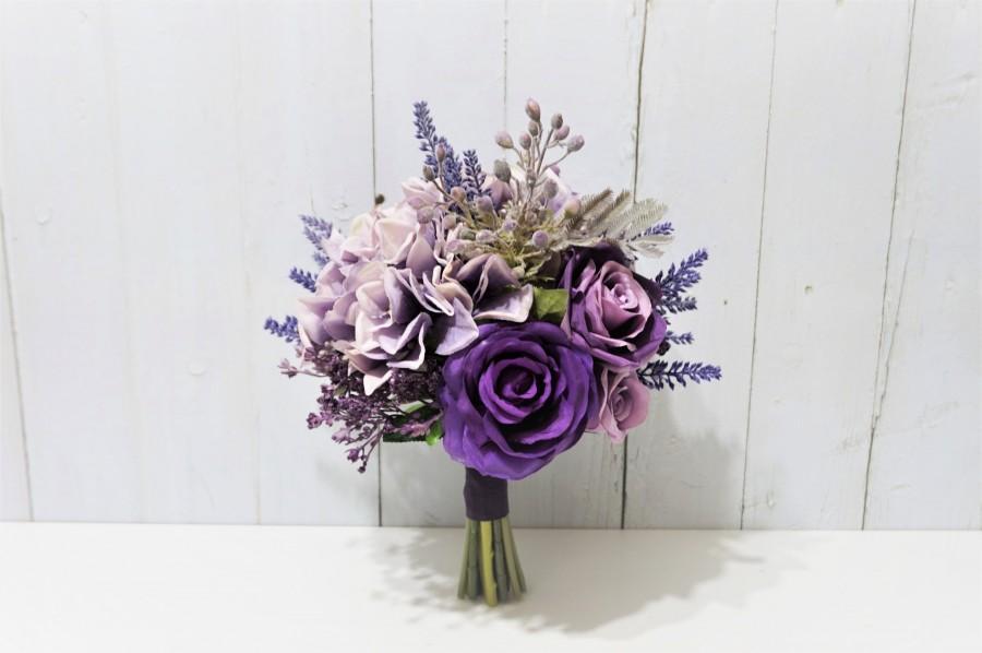 Hochzeit - Shades of Purple Maid of Honour Bouquet, Purple Rose Bridesmaid Bouquet, Pale Purple Hydrangea Wedding Bouquet, Purple Rose Floral Bouquet