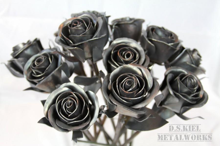 Mariage - Steampunk Wedding Bouquet, Dozen Sweetheart Rose Bouquet, Metal Rose Bouquet, Bridesmaid Bouquet, Wedding Gift