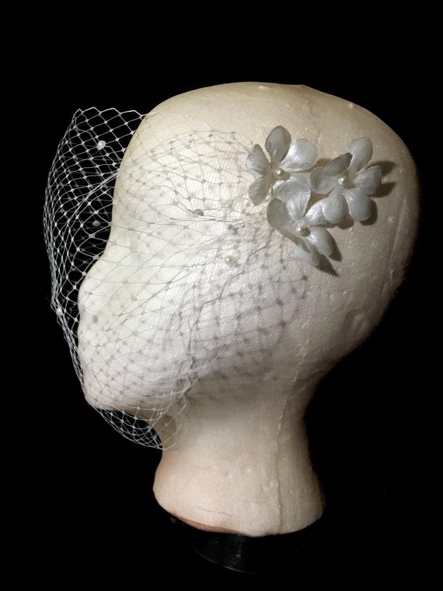 Wedding - Pearl Silk Flower Handmade Birdcage Wedding veil