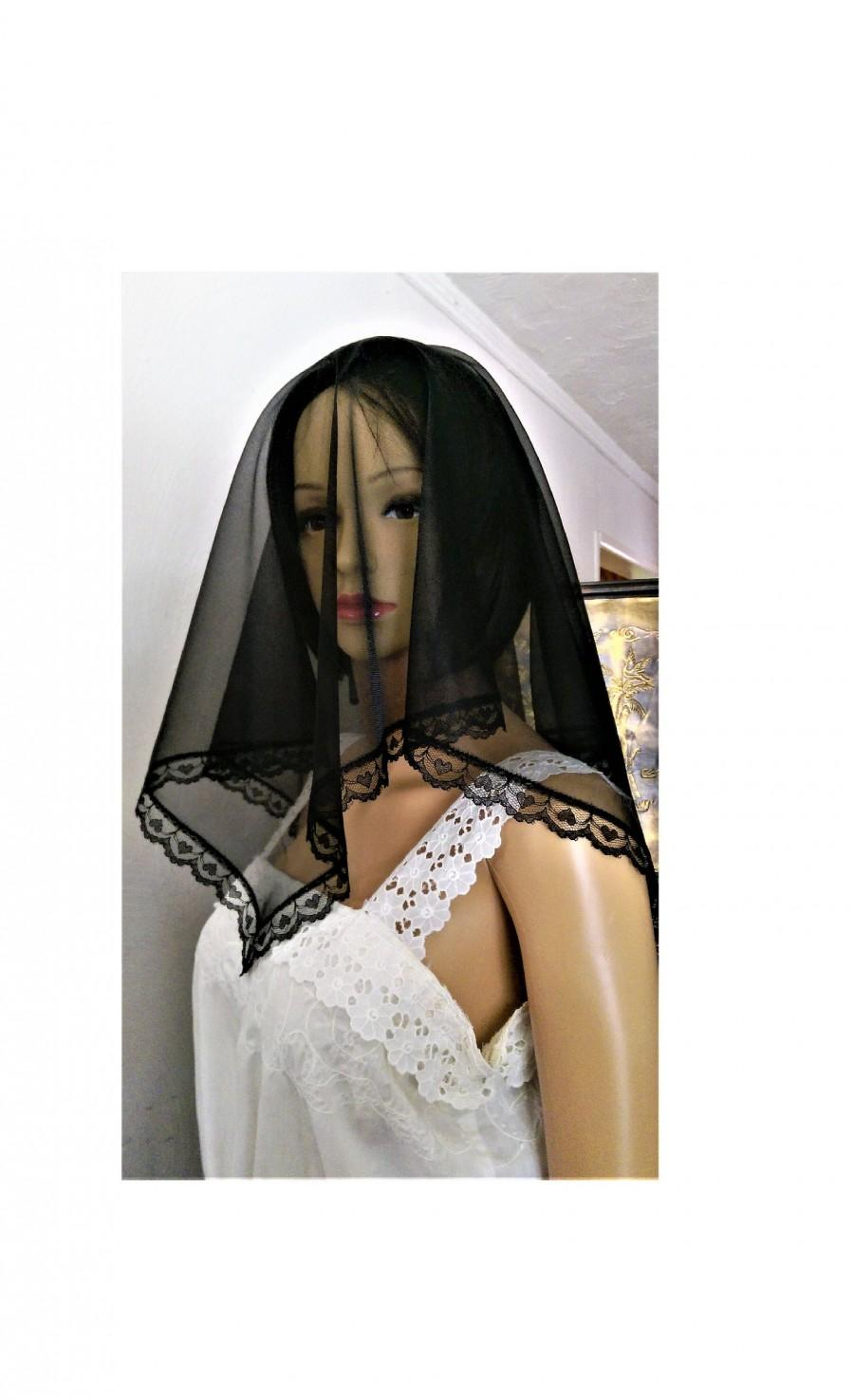 Свадьба - Black Mourning Funeral Chapel Scarf Veil, Sheer Nylon and Heart Lace Head Covering, Gothic Wedding Accessory, Ships Worldwide