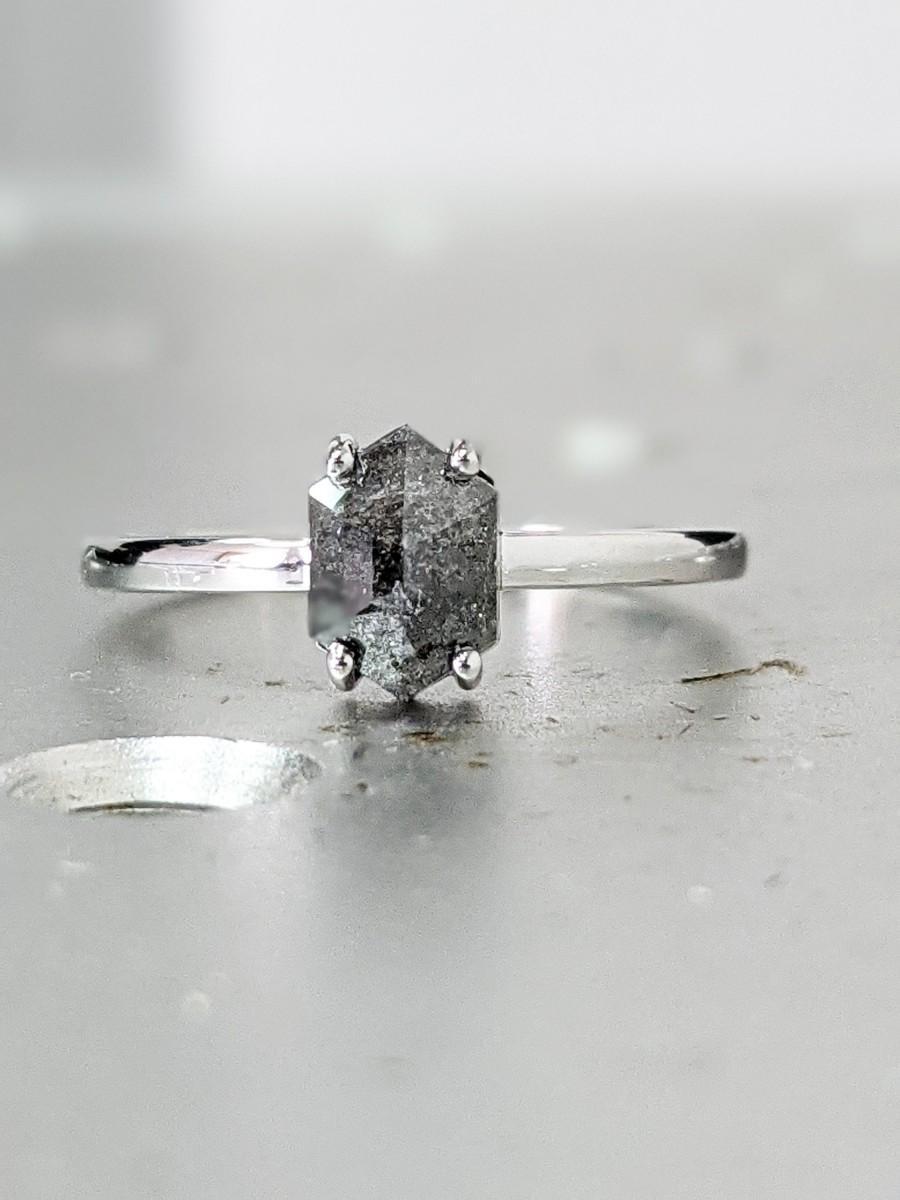 Wedding - 0.75ct Raw Diamond, Salt and Pepper, Hexagon, Unique Engagement Ring, Rose Cut Geometric Diamond Ring, 14k Gold, Custom Handmade