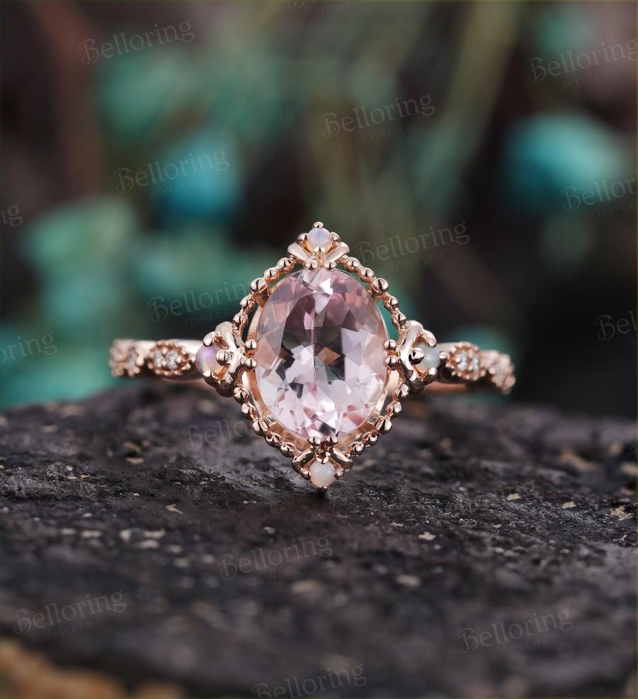 Wedding - Oval Cut Morganite engagement ring opal & diamonds vintage prong set milgrain Wedding ring for  antique Jewelry Anniversary gift