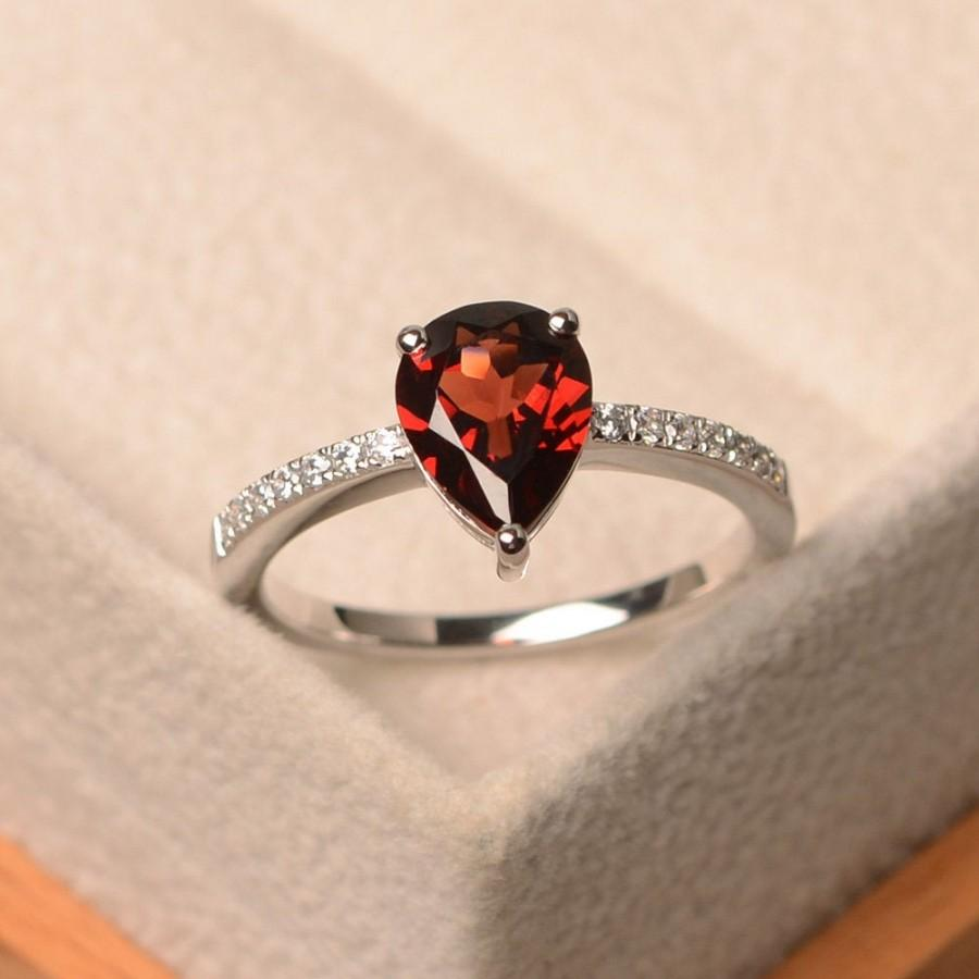 Hochzeit - Garnet ring, pear cut red gemstone ring, sterling silver, January birthstone ring, engagement ring for women