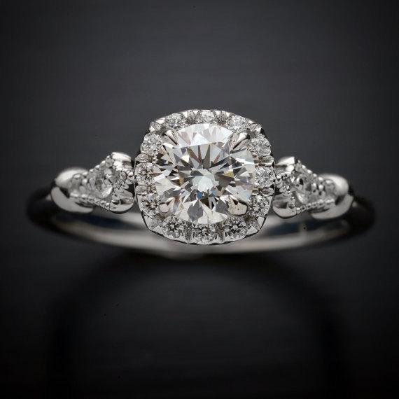 زفاف - Platinum halo engagement ring with moissanite classic cushion style with natural diamonds acents Forever One also in white pink yellow gold