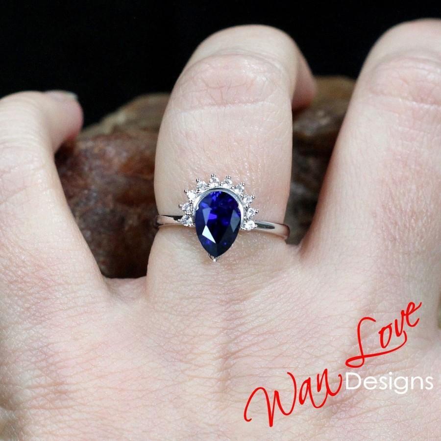 زفاف - Blue Sapphire Diamond Pear Half Halo Engagement Ring Semi Bezel, 14k 18k White Yellow Rose Gold, Platinum, Custom, Tear Drop