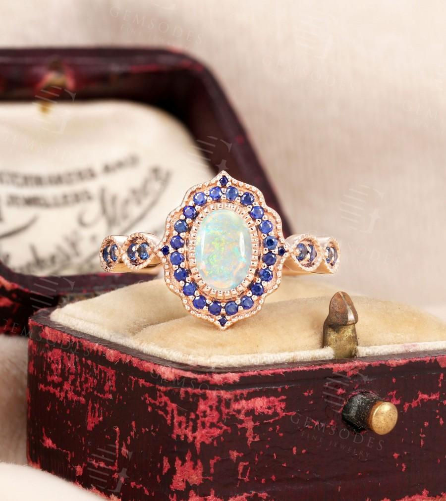 Wedding - Oval Cut Opal Engagement Ring