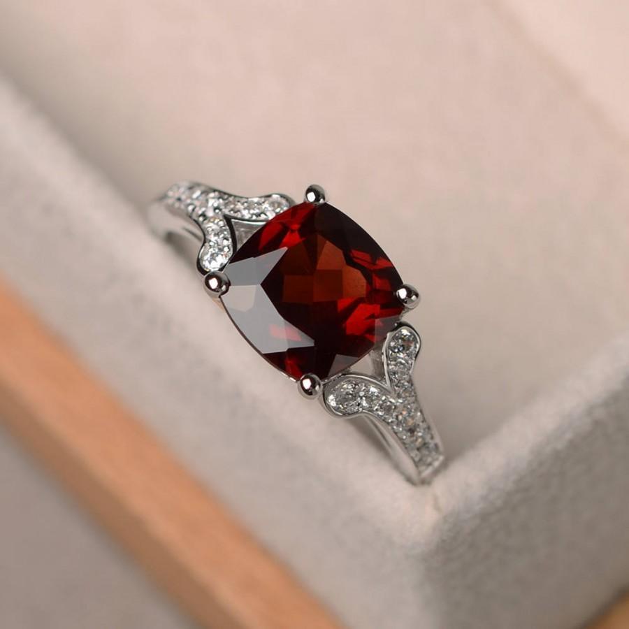Wedding - natural garnet ring, cushion cut promise wedding ring, sterling silver ring,red gemstone ring,January birthstone ring