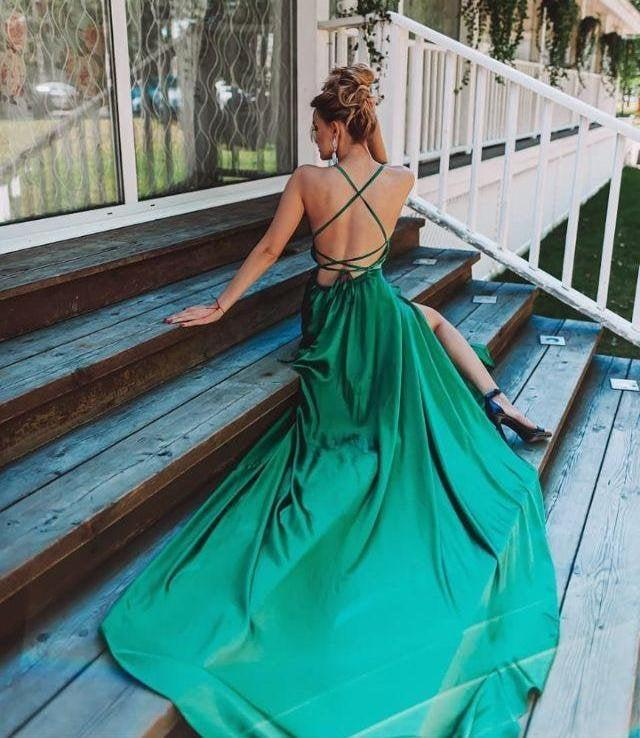 Mariage - Emerald green bridesmaid dresses Sexy maxi dresses Open back dress Bridesmaid gown Green bodycon dress Party wear dress Evening gowns