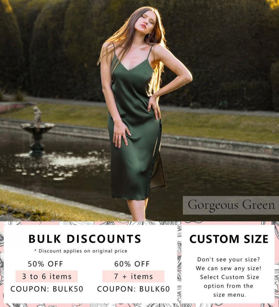 Hochzeit - Green Bridesmaid Silk Dress • Sexy Unique Gift for Her • Satin Nightgown Chemise • Long Plus Size Night Dress • Womens Nightwear Sleepwear