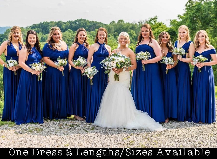 Mariage - Royal Blue Bridesmaids Dress  long infinity dress short convertible bridesmaid dress infinity dress long maxi dress wedding dress