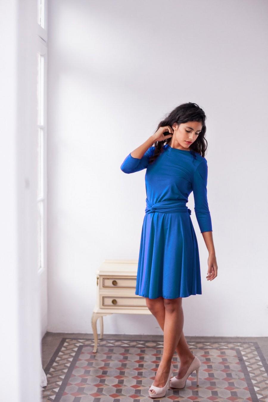 Wedding - Royal blue dress, long sleeve dress, short wrap dress, royal blue convertible dress, long sleeve short dress, dress sleeves, blue wrap dress