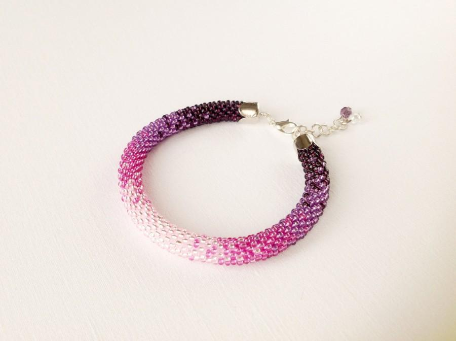 Mariage - Purple ombre bracelet, bead rope bracelet, purple bracelet, purple wedding, bridal bracelet, seed beads bracelet, women bracelets, beaded