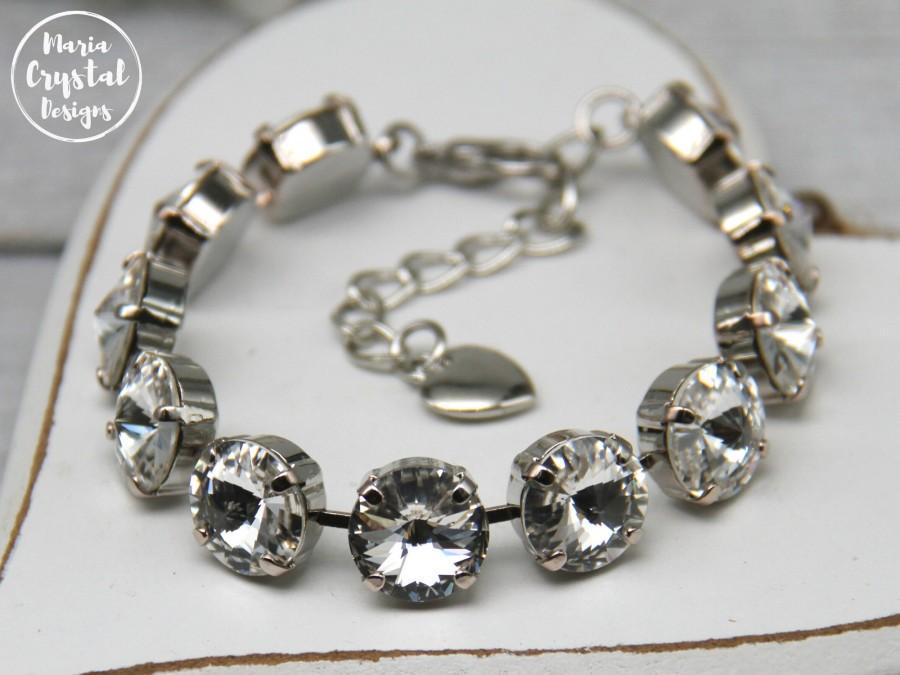 Wedding - Clear Swarovski Tennis Bracelet, Crystal Bracelet, Sparkle Bridesmaid Bracelets, Wedding Bracelet, Swarovski Armband, Elegant Bracelet