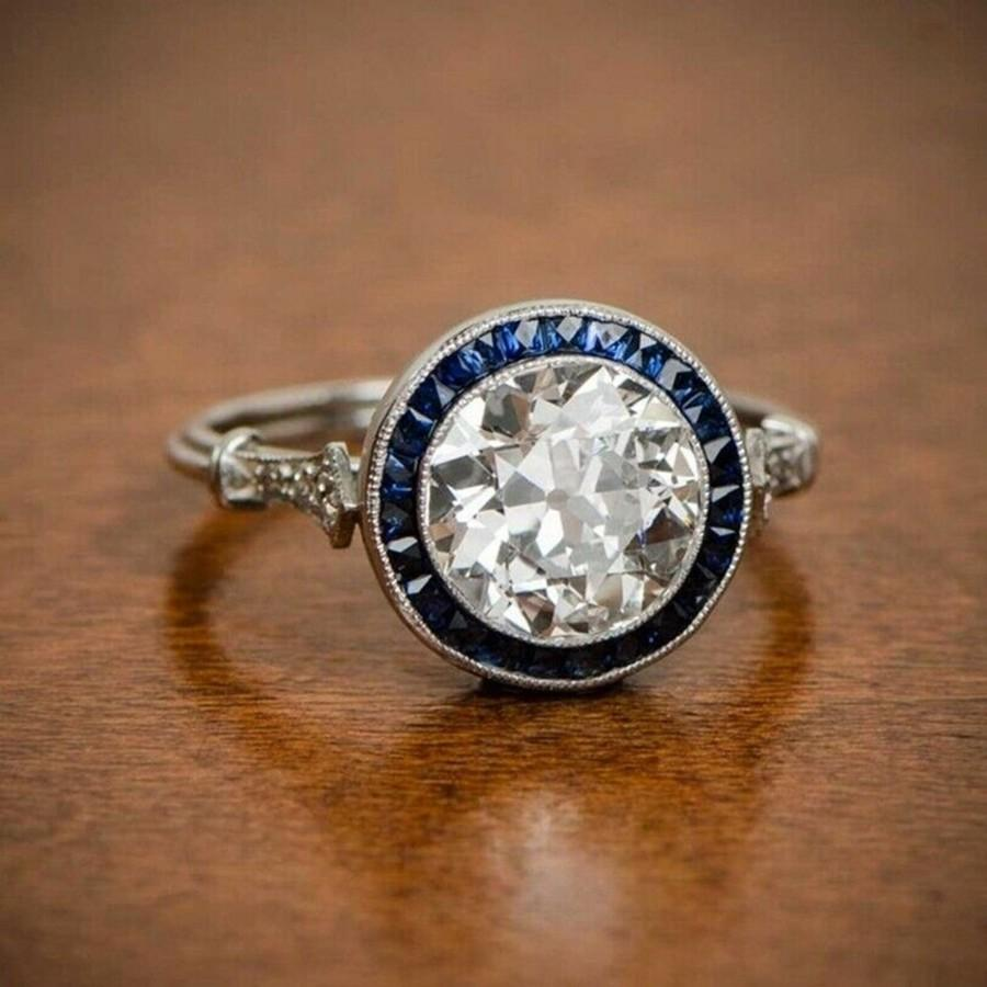 Mariage - Stunning Old Mine Cut Diamond Ring / Estate Engagement Ring / Vintage Diamond Wedding Ring / Blue Baguette Ring / Anniversary Ring For Wife