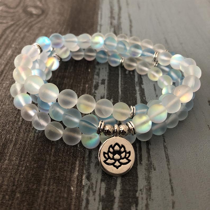زفاف - Natural Mermaid Crystal Beads 108 Mala Bracelet-Healing Balance Calming Necklace-Spiritual Meditation Anxiety Relief Inner Peace Bracelet