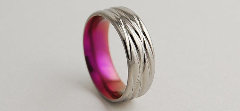 زفاف - Sphinx in Passion Pink with Comfort Fit Interior , Titanium Ring , Wedding Band , Promise Ring