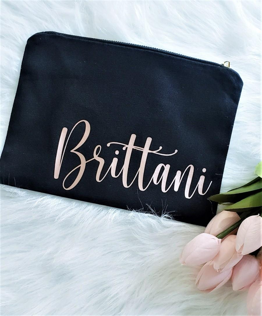 Wedding - Will you be my Bridesmaid, Personalized Bridesmaid Makeup bag, Bridesmaid Proposal Makeup Bag, Bridesmaid Gift, Proposal Gift, Cosmetic Bag
