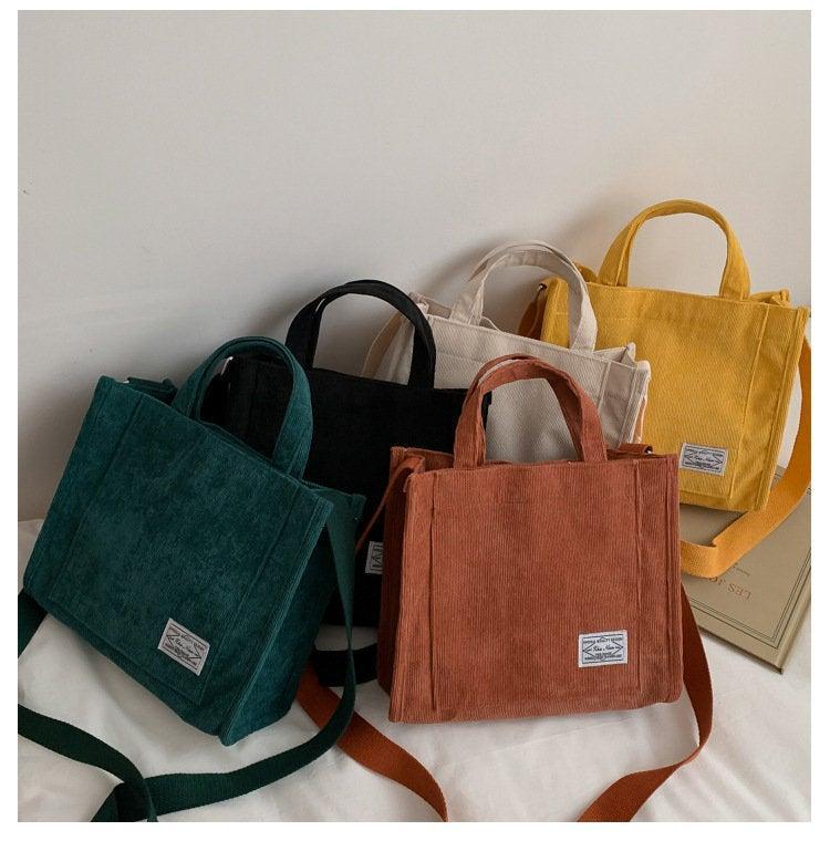 Wedding - Corduroy Bag, Canvas Bag, Casual Crossbody Bag, Corduroy Handbag, Messenger Bag, Tote Bag, Women Bag, Gift For Her, 5 Colors Shoulder Bag